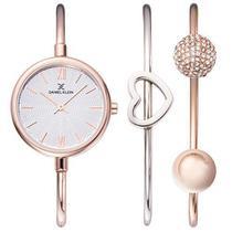 Relogio Analogico Daniel Klein Gift Set DK12032-4 Feminino com Duas Pulseiras de Aco Inoxidavel - Rosa Ouro e Prata