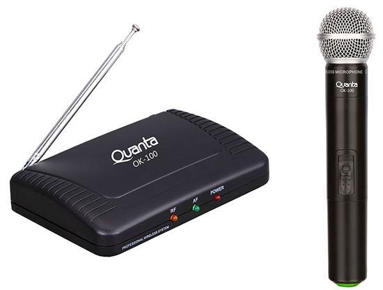 Microfone Profissional Quanta QTMWU105 Wireless Uhf Preto