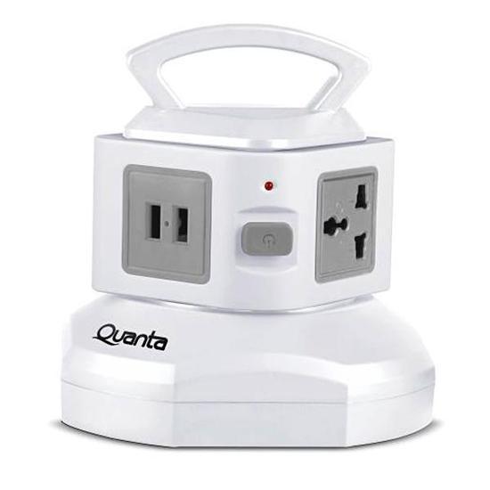 Filtro de Linha Quanta QTEFLO850 2 USB 3 Tomadas 2V - Branco