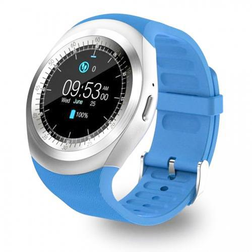 Smartwatch SN05 Y1 com Bluetooth, USB, Chip, Micro-SD - Azul e Prata
