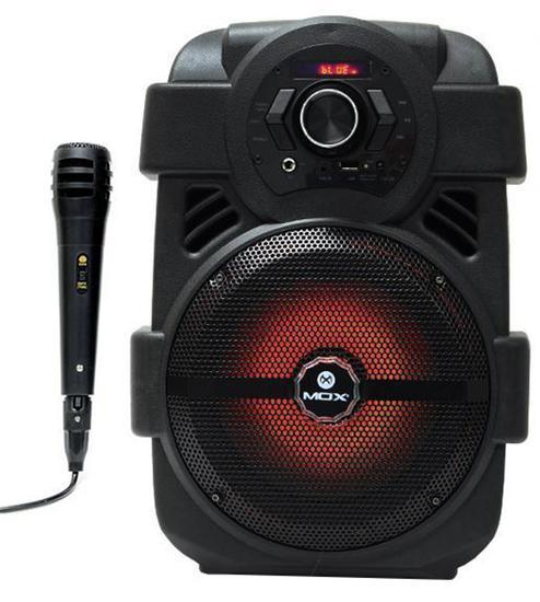 "Caixa de Som Mox MO-K27B Karaoke 8"" 5000W/FM/USB/BT Preto"