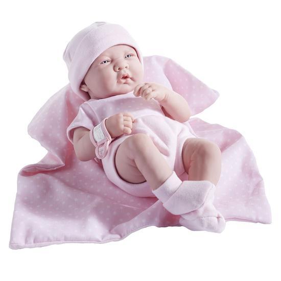 JC Toys Boneca 18541 35CM c/ Cobertor Poa Rosa