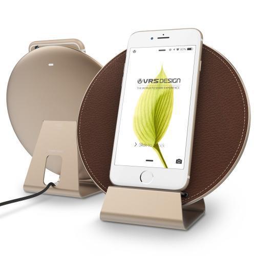 Carregador Wireless VRS Design Plate Halo, Compativel com iPhone e Android - Dourado