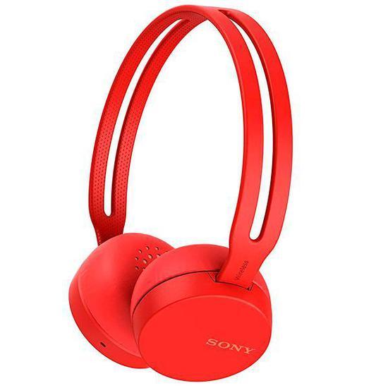 Fone de Ouvido Sem Fio Sony WH-CH400/RZ com Bluetooth/NFC/Microfone - Vermelho