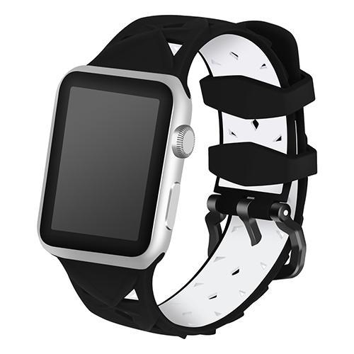 Pulseira 4LIFE de Silicone Diamond para Apple Watch 38MM - Preto e Branco
