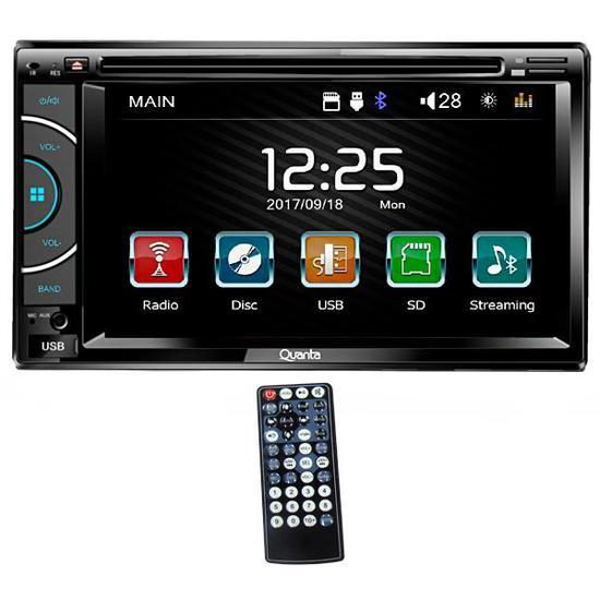 """Reprodutor de DVD Automotivo Quanta QTRMT62 de 6.2"""" com Bluetooth/USB - Preto"""