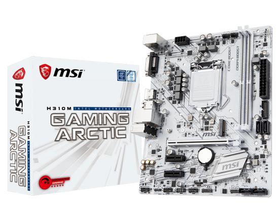 Placa Mãe MSI LGA1151 H310M Gaming Arctic M.2/DVI/HDMI
