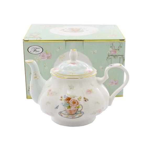 Louca Bule de Cha Floris Buttertiy 1L Tea Pot de Porcelana
