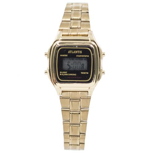 26e1913d0cf Relogio Digital Atlantis G7049W Feminino Aco - Dourado  Preto
