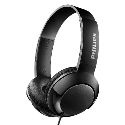 Fone de Ouvido Philips Bass+ SHL3070BK Dobravel com Microfone/ 3.5MM - Preto