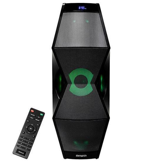 Speaker Aiwa AWPO1 com Bluetooth/ Auxiliar/ USB/ FM/ Iluminacao LED - Preto