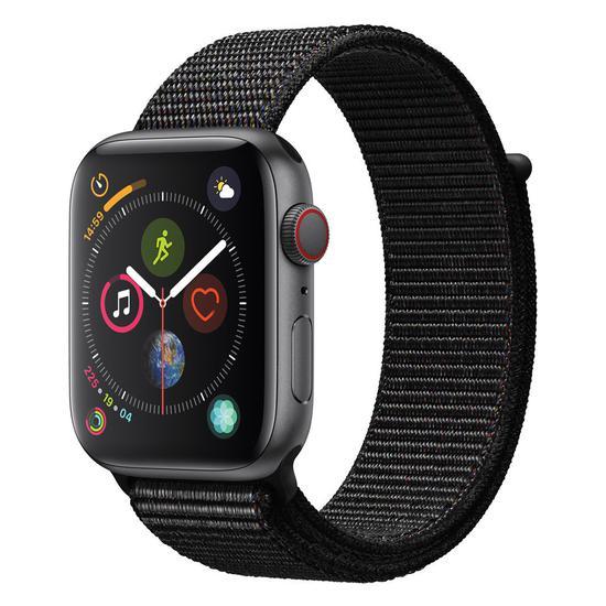 Apple Watch S4 (GPS + Cellular Caixa de Aluminio Em Cinza Espacial e Correia Loop Esportiva Em Cor Preto 44 MM - MTVV2BZ/A