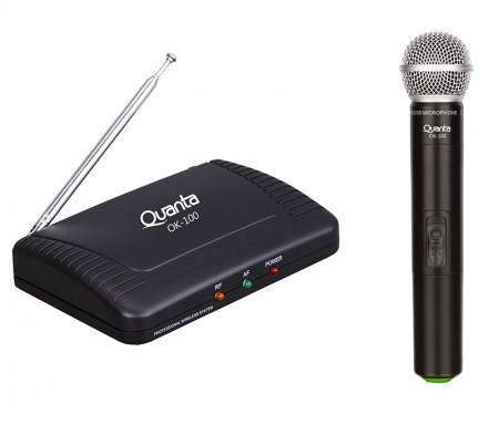Microfone Quanta Sem Fio Profissional Quanta QTMWU105 60M 500-800MHZ Bivolt-Preto