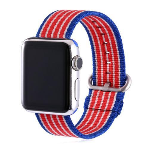 Pulseira 4LIFE de Nylon Listrado para Apple Watch 32MM - Azul, Branco e Vermelho