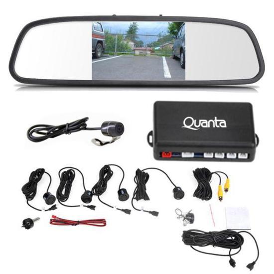 """Sensor de Estacionamento Quanta QTSE400 Camera + Retrovisor LCD 4.3"""""""