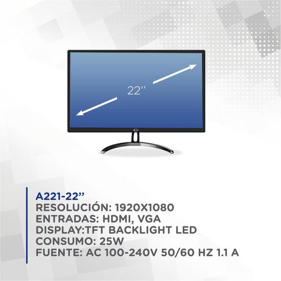 """Monitor 22"""" e-Tech A221 HDMI Preto"""
