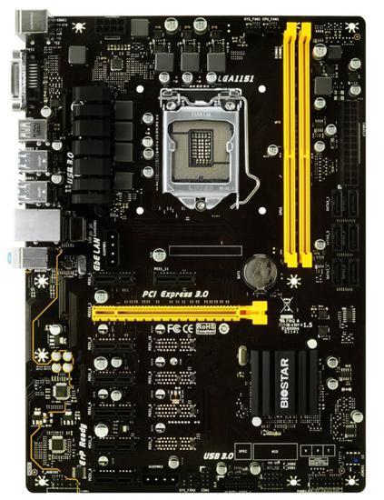 Placa Mãe Biostar TB250-BTC+ LGA1151/ 2XDDR4/ PCI-e/ DVI-D/ USB/ SATA