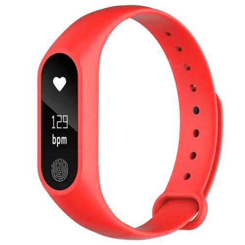 """Smartwatch Health Bracelet M2 para Atividades Fisicas, Tela 0.42"""", 70 Mah, Unissex - Vermelho"""