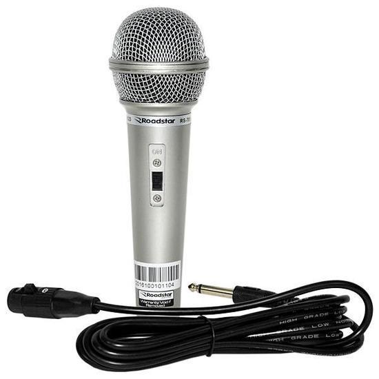 Microfone com Fio Roadstar RS-701 com Cabo 4.0 de 2,5 Metros - Prata