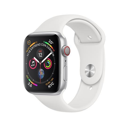 Apple Watch S4 (GPS + Cellular Caixa de Aluminio Em Plata e Correia Loop Esportiva Em Cor Branco 44 MM - MTVR2BZ/A