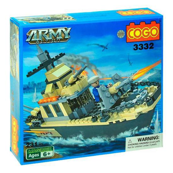 Blocos de Montar Cogo Army Action Navio de Guerra - 231 Pecas