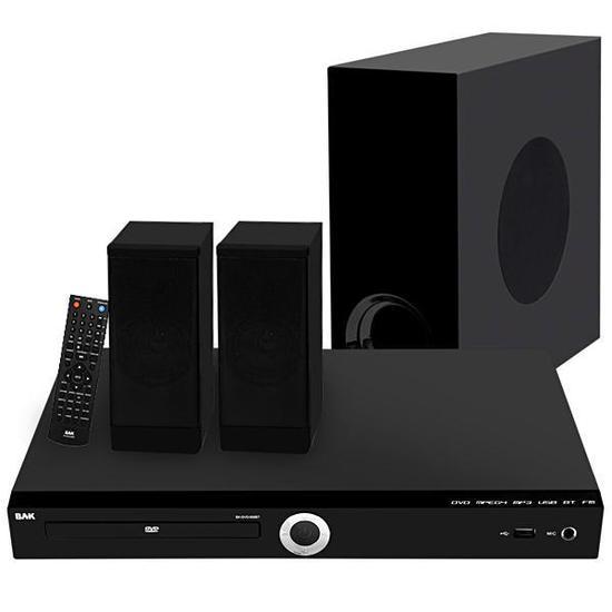Home Theater BAK BK-DVD-856BT 2.1 com 4.000W/ Bluetooth/ USB/ Radio FM/ Bivolt - Preto