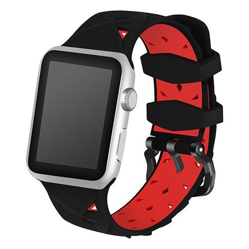 Pulseira 4LIFE de Silicone Diamond para Apple Watch 42MM - Preto e Vermelho