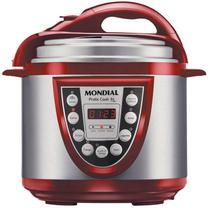 Panela de Pressao Eletrica Mondial Pratic Cook 5LT PE-12 - Vermelho/Inox -110V