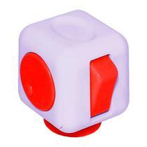 Cubo Anti-Stress Fidget Cube com 6 Botoes - Roxo/Vermelho