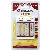 Carregador de Pilhas Mox MO-CB736 - com 4 Pilhas - Bivolt