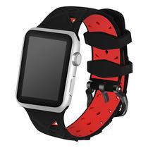 Pulseira 4LIFE de Silicone Diamond para Apple Watch 38MM - Preto e Vermelho