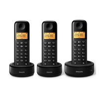 Telefone Philips D-1303 Sem Fio com 3 Bases BLK