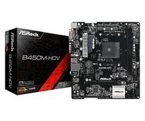 Placa Mãe AM4 Asrock B450M-HDV DVI-D/HDMI/VGA