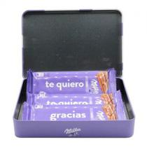 Lata Personalizado Milka com 3 Barras Chocolate Ao Leite 55G