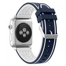 Pulseira 4LIFE Silicone para Apple Watch Color Flower - 42MM - Azul / Branco