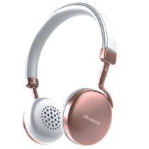 Fone de Ouvido Aiwa AW4 Turbo Bluetooth / com Microfone / Arco - Rosa e Cinza