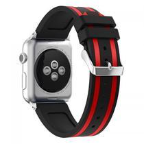 Pulseira 4LIFE de Silicone Duas Cores para Apple Watch - 42MM - Preto / Vermelho