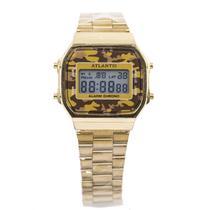 91f69596f83 Relogio Digital Atlantis G7474 Unissex Aco - Dourado  Camuflado Marrom