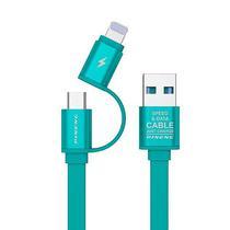 Cabo USB 2 Em 1 Micro USB/Lightning Pineng PN-304 de 1 Metro - Azul