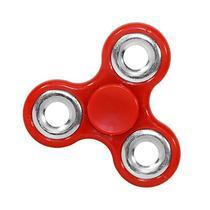 Spinner de Aluminio Anti-Stress de Mao Fidget Spinner - Vermelho/Prata