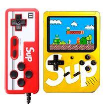 Console Mini Game Retro Portatil Sup Boy Game Box 400 In 1 Amarelo c/ Controle Vermelho