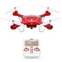 Drone Syma X5UW com FPV Via Wi-Fi Giroscopio de 6 Eixos Camera HD 720P - Vermelho/Branco