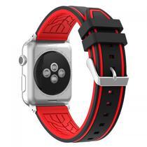 Pulseira 4LIFE Silicone para Apple Watch Color Flower - 42MM - Preta / Vermelha