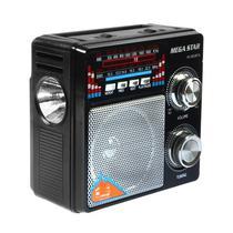 Radio FM/AM Megastar RX-803BT 5W com Bluetooth/USB/Lanterna - Preto