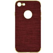 Capa para iPhone 7/8 Wesdar Material de Tecido - Vermelho Escuro e Dourado