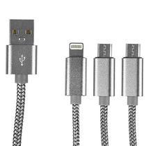 Cabo USB Ldnio LC85 (2 Microusb / 1 Lightning) para Android e Ios - Prata