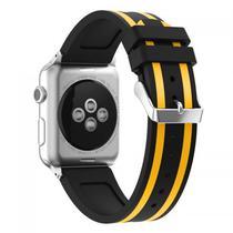 Pulseira 4LIFE de Silicone Duas Cores para Apple Watch - 42MM - Preto / Amarelo