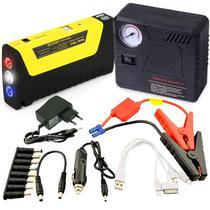 Carregador Portatil e Auxiliar de Partida TM15 Multifuncional com Compressor de Ar/Lanterna 68800MAH 300A 12V - Preto e Amarelo