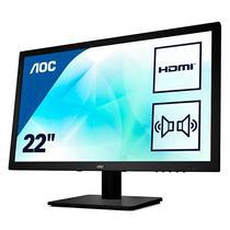 """Monitor LED AOC Slim E2275SWJ de 22"""" HDMI/VGA/DVI/Mini Jack 3.5 MM - Preto"""