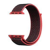 Pulseira 4LIFE de Nylon para Apple Watch 42MM, Velcro - Preto e Vermelho